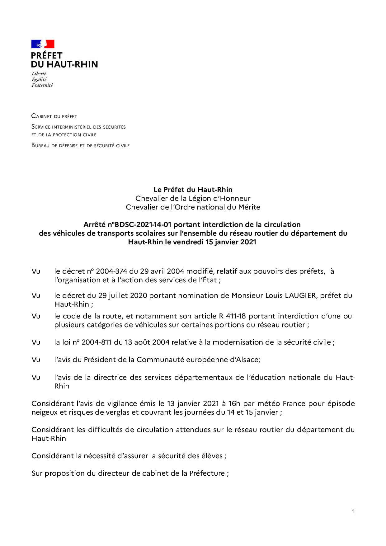 Arrêté interdiction transport scolaire 2021